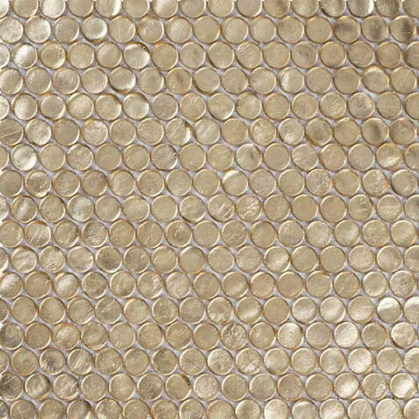 Gold Glass Penny Round Tiles