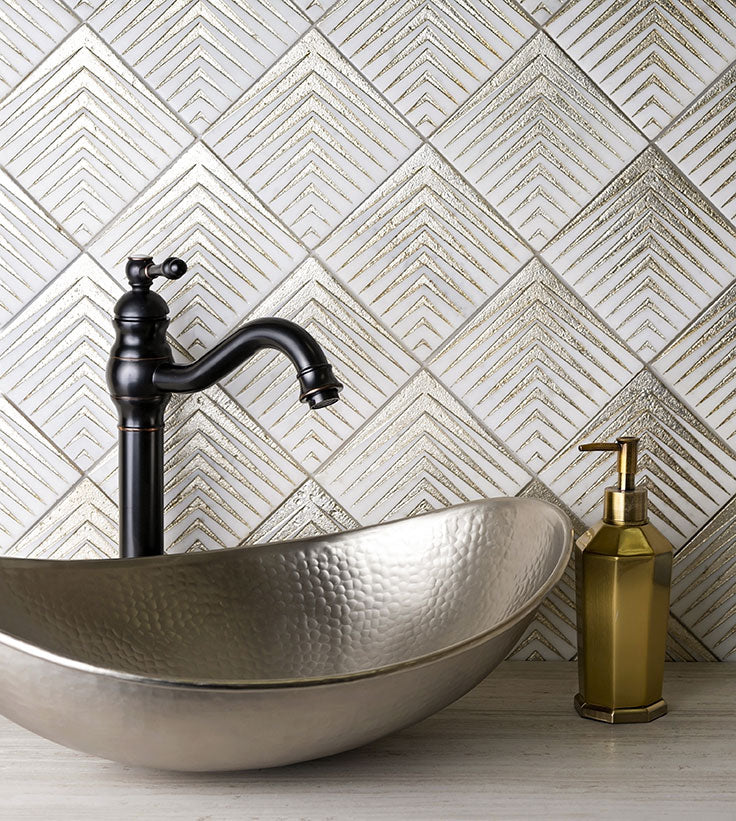 White and Gold Diamond Pattern Tile for a Luxurious Bathroom Design