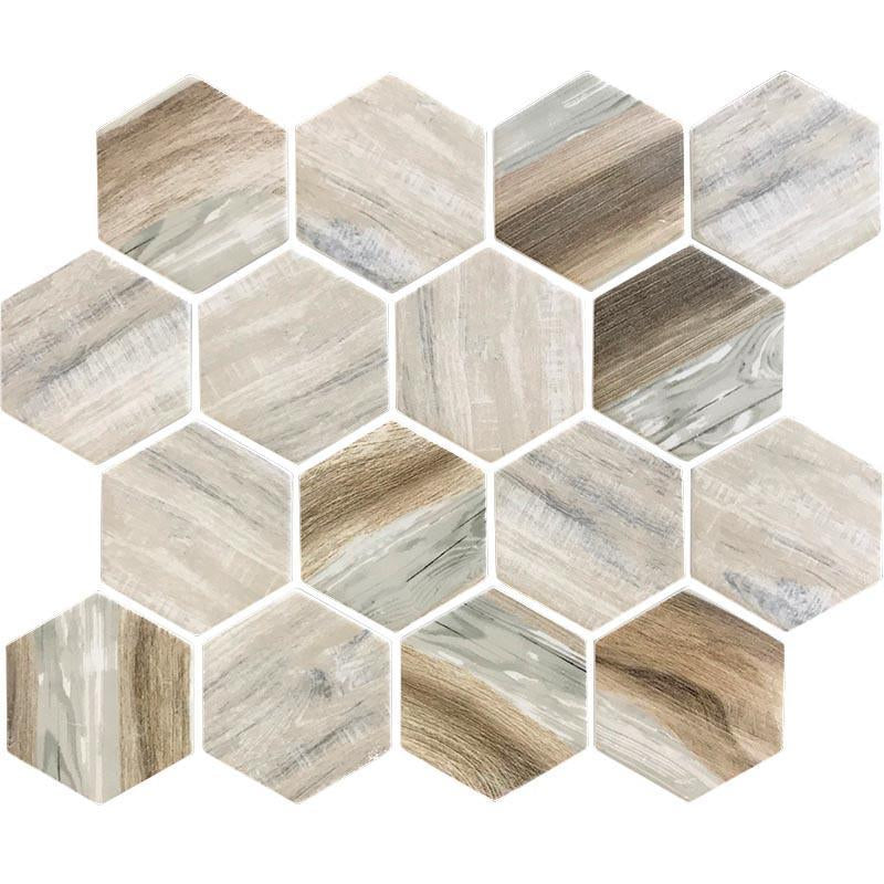 """Picture how incredible this Recycled Glass 2"""" Hexagon Mosaic Wood Color Tile would look in your pool!"""
