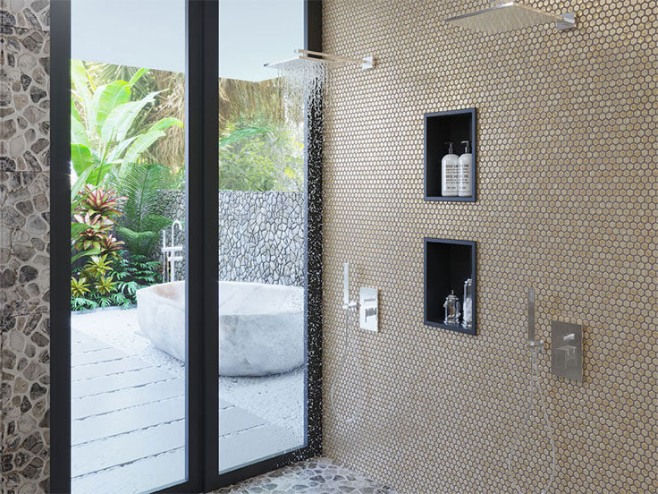 Oversized Shower with Gold Tile Walls