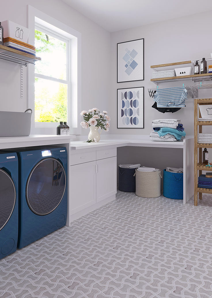 Patterned Mosaic Floor for a Laundry Room Makeover