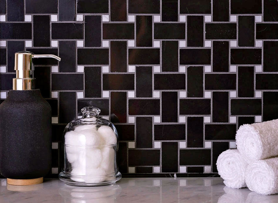 Nero Marquina Basketweave With White Dot Marble Mosaic Tile is perfect for a striking vanity backsplash or a country kitchen tile wall accent!
