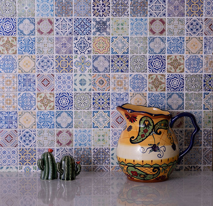 Spanish Style Mosaic Tile Kitchen Backsplash in Blue, Yellow, and Red