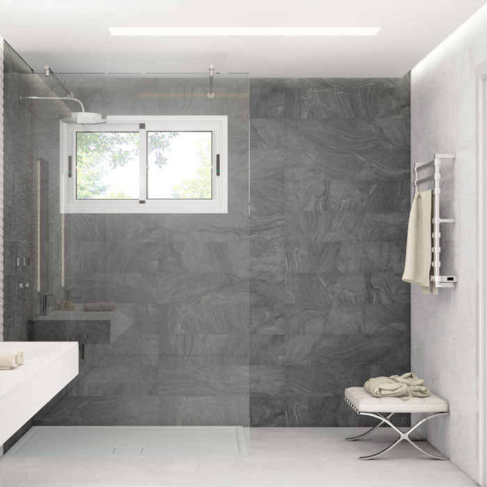Why not achieve the smooth marble look in your steam shower with porcelain tile that is durable, beautiful, and more affordable like Varana Morengo