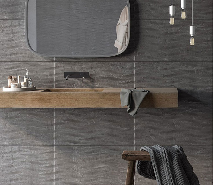 3D Porcelain Tiles for a Dramatic Industrial Bathroom with Live Edge Wood Counters