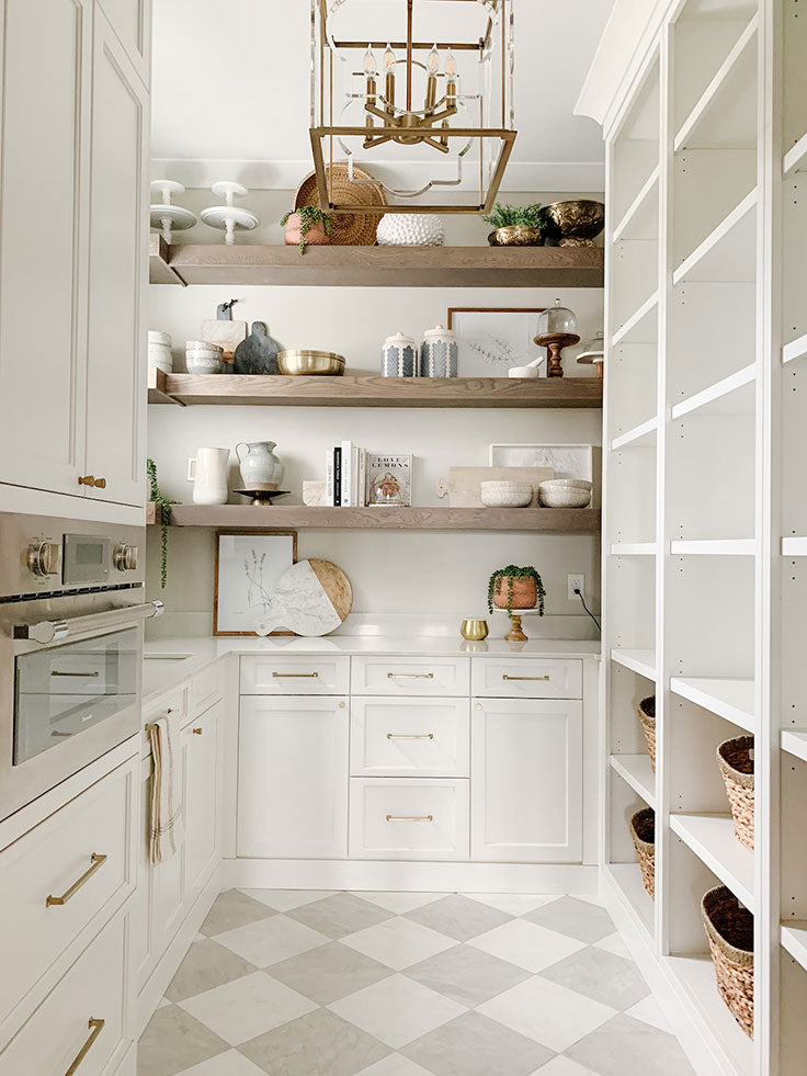 Gray and White Checkerboard Kitchen Floor for a Walk-in Pantry