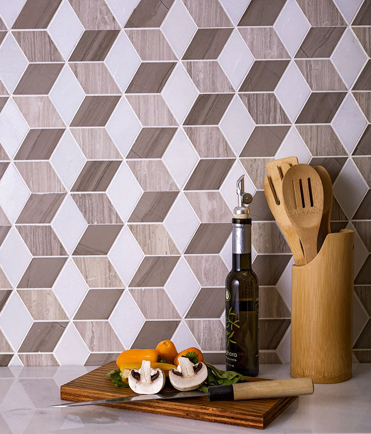 3D Cubist-Inspired Wood Look Marble Mosaic Tile for a Mid-Century Modern Kitchen