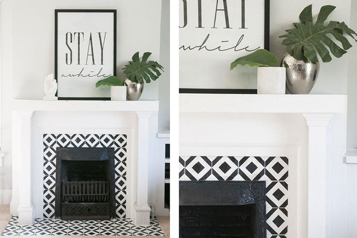 Create a DIY Living Room Makeover with Painted Tiles for a Fireplace Surround