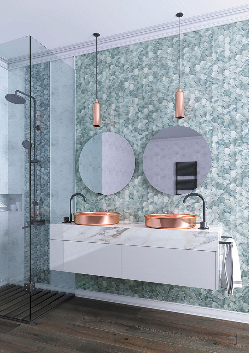 Contemporary Bathroom Design with Copper Pedestal Sinks and Ocean Glass Hexagon Blue Mosaic Tile Backsplash