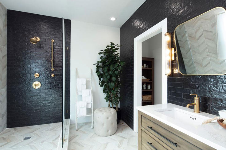 After Bathroom Remodel with Black Subway Shower Tiles and Wood Look Porcelain Walls and Floors