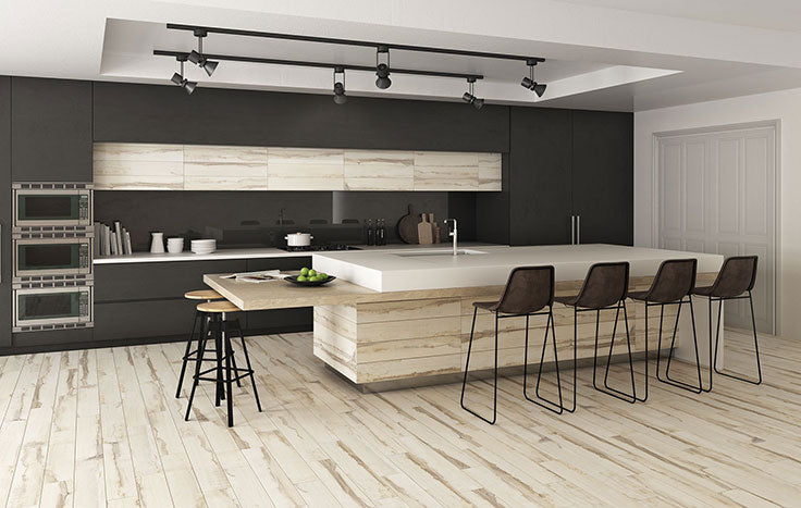 2021 Kitchen Floor Trends: the look of white oak chevron floors with a porcelain tile finish