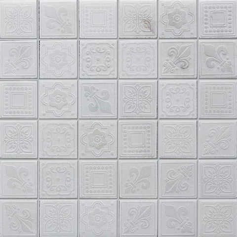 White Etched Marble Fireplace Tile