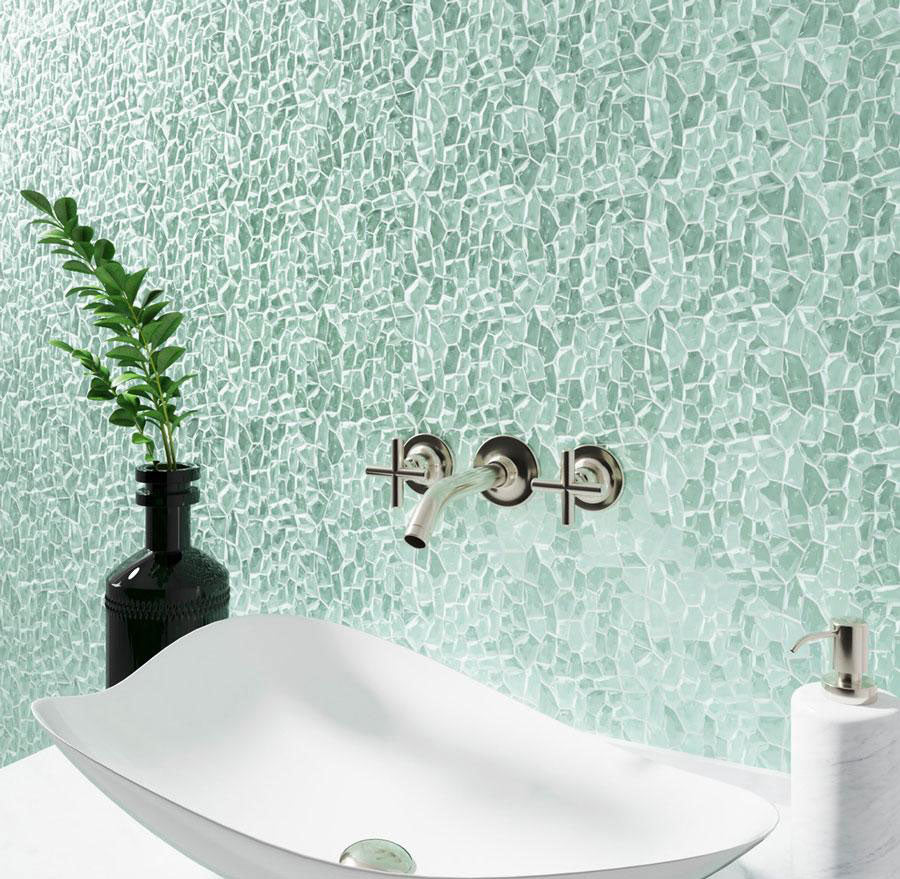 Chic coastal bathroom design doesn't have to cost an arm and a leg -Diamond Aqua Glass Pebble Mosaic Tile backsplash