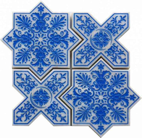 Blue and White Etched Star and Cross Tile