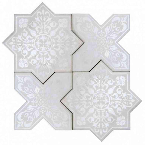 White Etched Marble Star and Cross Tile