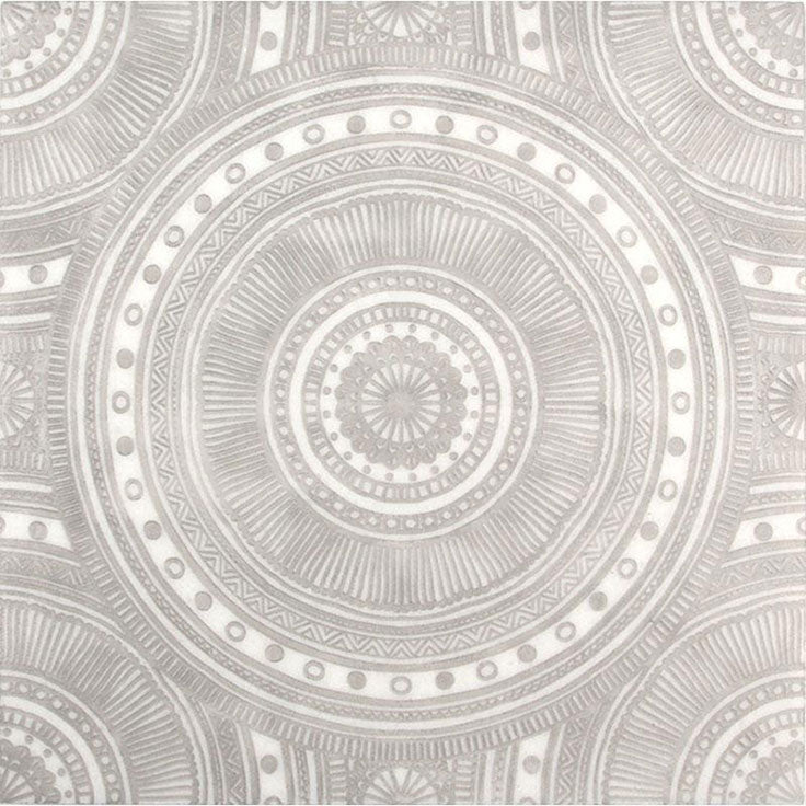Mandala Patterned Etched Marble Tiles for Bathroom Wall Designs