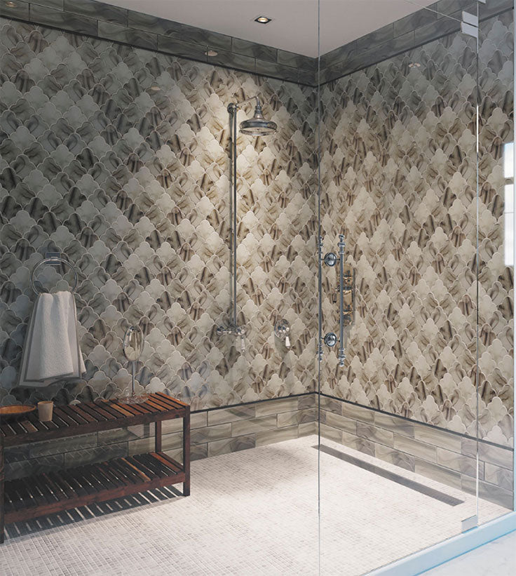 Walk In Shower with Ocean Glass Cloud Amber Mosaic Tile