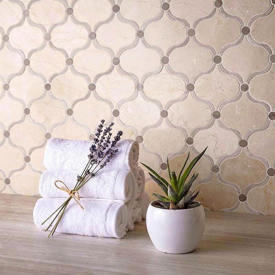 Crema Marfil Arabesque Tile With Dots