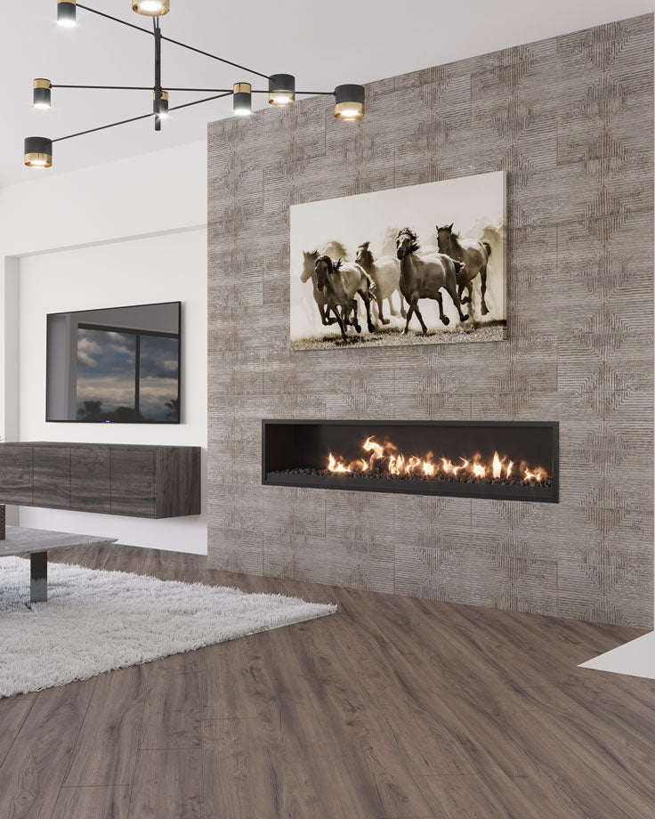 Textured Ceramic Wall Tiles for a Fireplace Surround Accent Wall