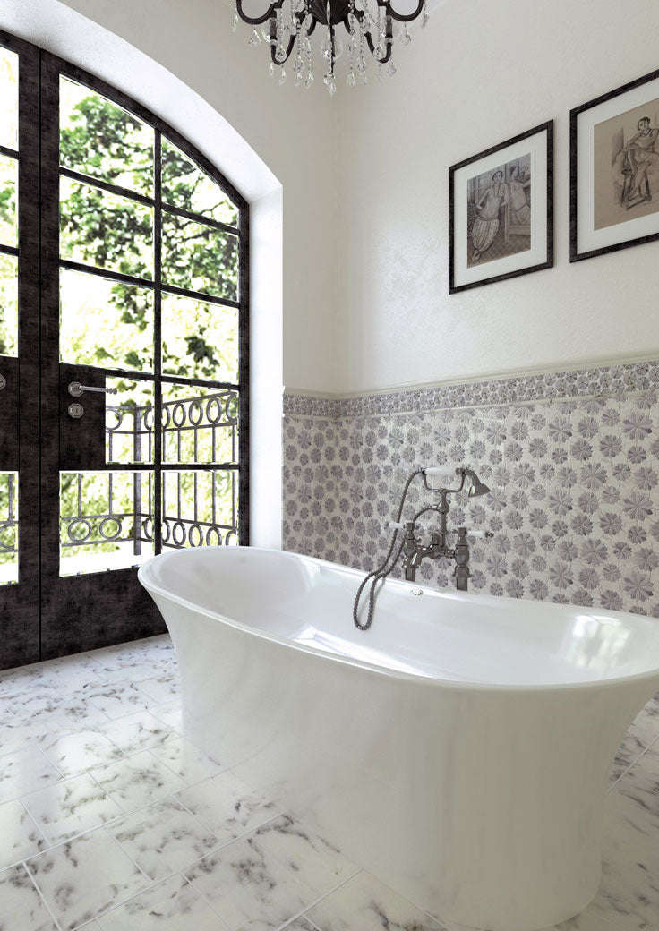 A Floral Dream Teenage Girl Bathroom with Marble Tile and a Chandelier
