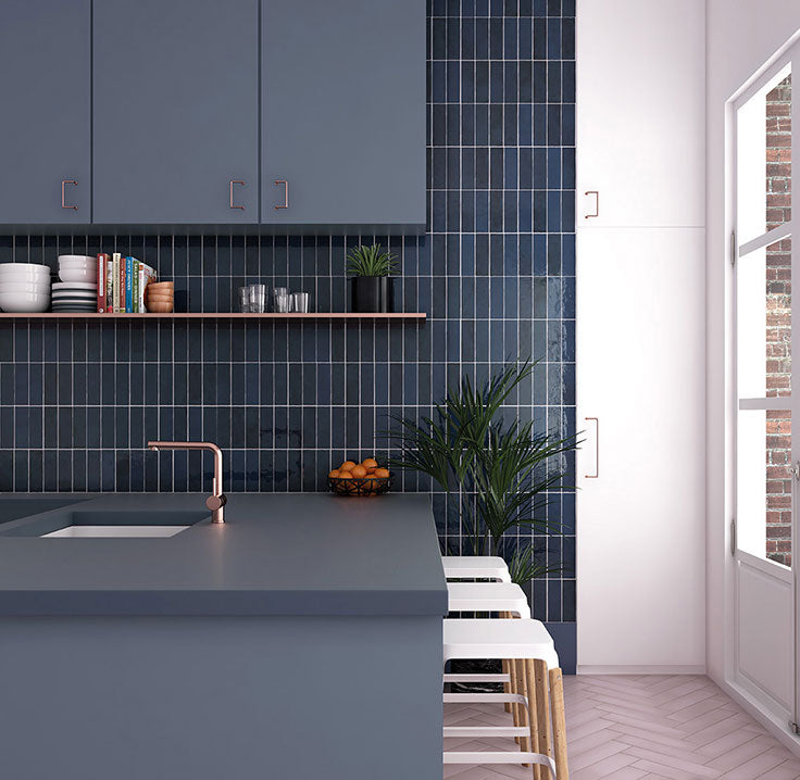 Modern Blue and White Kitchen with Ceramic Subway Tile Backsplash Wall