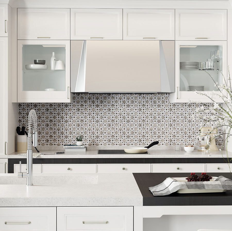 1920's inspired Art Deco kitchen hits the mark with interwoven Wooden Gray and White Carrara tile