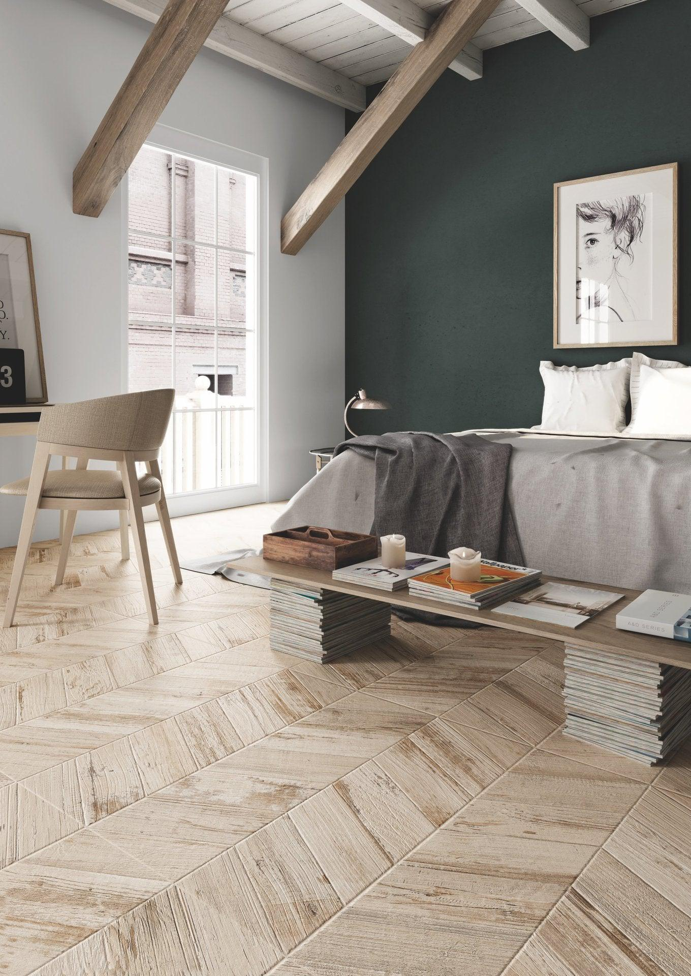Chevron Hardwood Floor Alternatives with Porcelain Tile