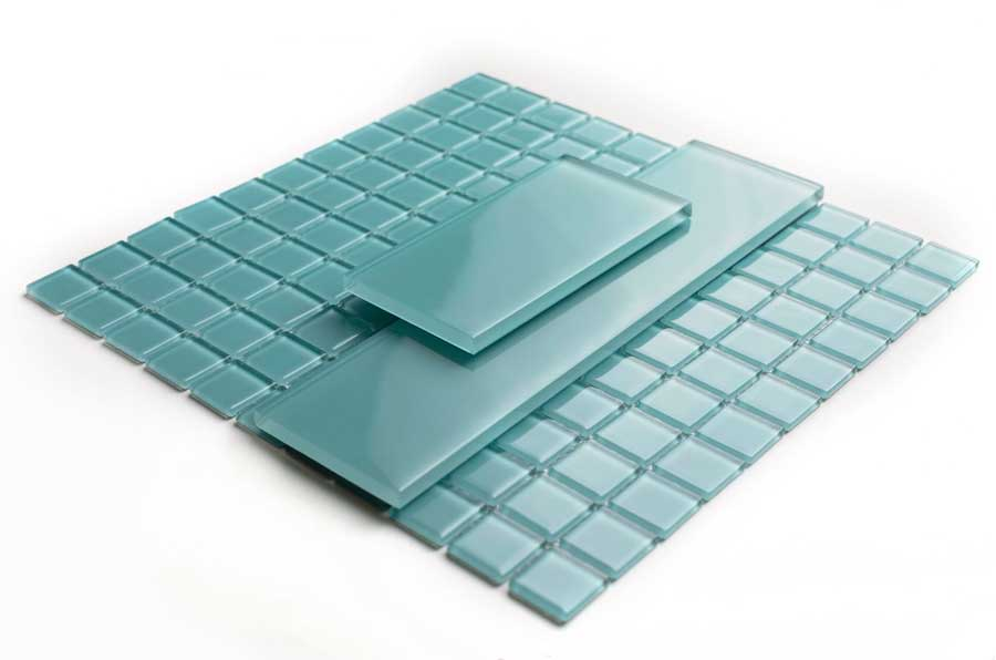 Glacier Aqua Polished Glass Pool Tiles