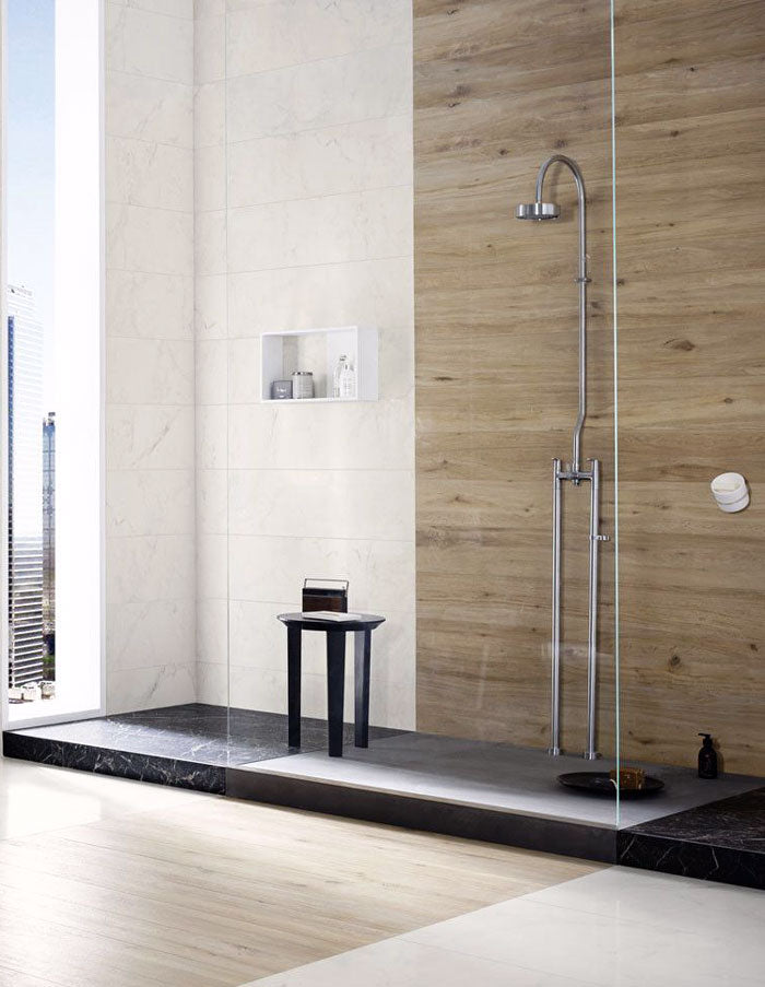 Rovere Miel is ideal for creating a Scandinavian-inspired sauna in your bathroom! The warmth of the wood grain porcelain tile is versatile enough to blend in any shower design.