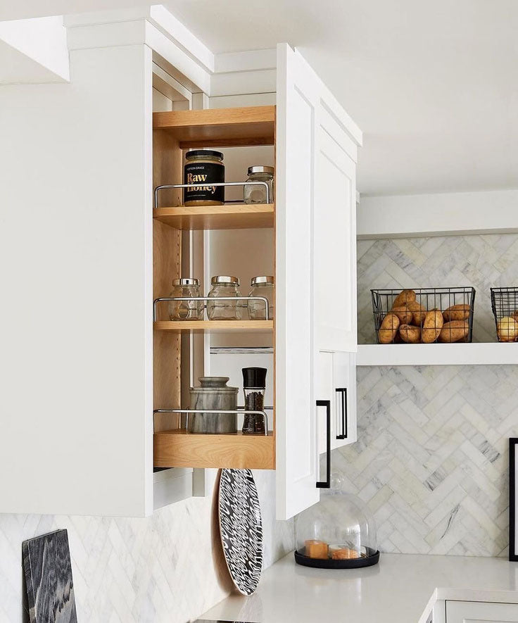 Pull-out cabinets increase small kitchen storage and organization options