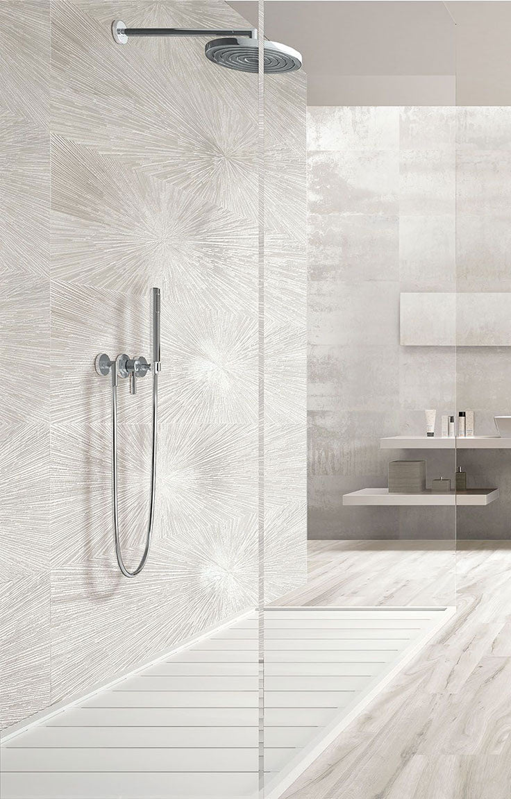 3D Tiles for a White Porcelain Shower with Modern Minimalist Bathroom Style