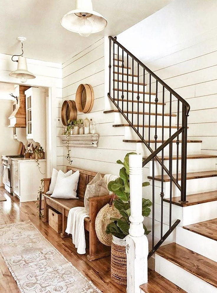 Rustic Farmhouse Staircase Inspiration with Shiplap Walls