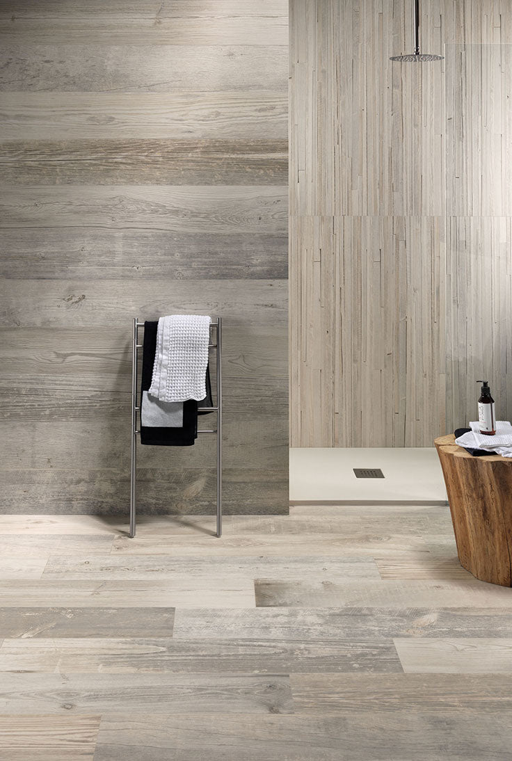 Scandinavian Bathroom Design with Blonde Wood Look Tiles for a Minimalist Shower
