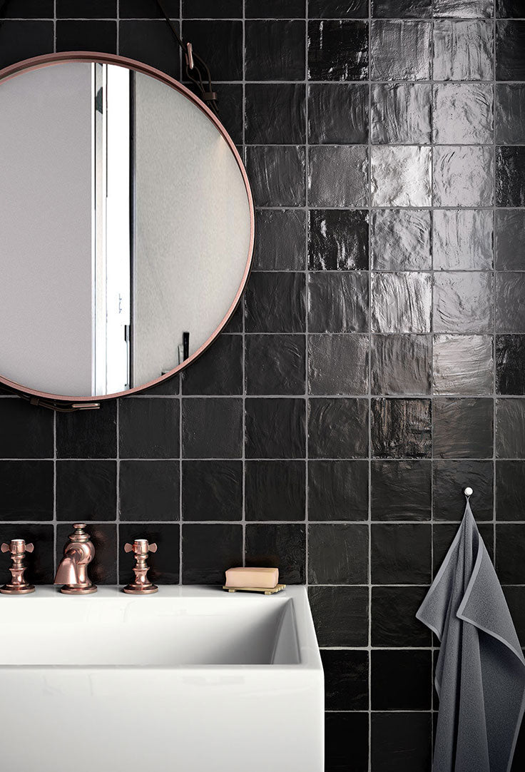 Black Ceramic Tiles with a Handcrafted Look