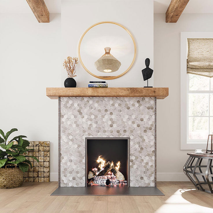 Modern Bohemian Living Room with a Tiled Fireplace Surround and Wood Mantel to match Exposed Beams