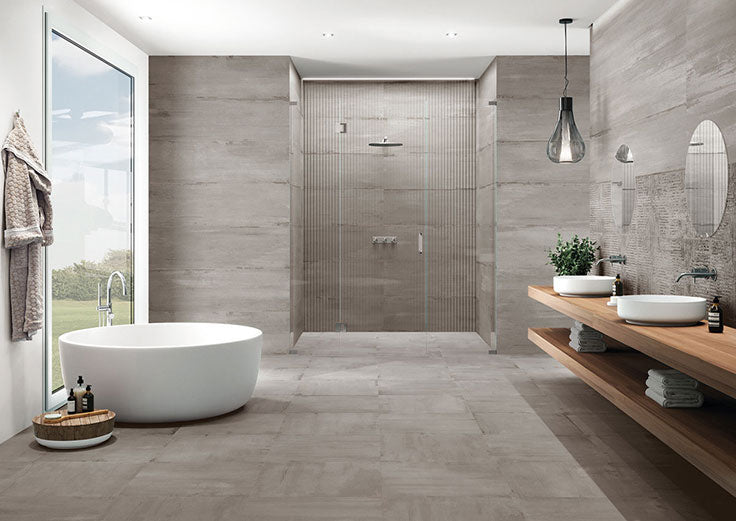 Greige Ceramic Tiles with Minimal Grout Lines for a Neutral Bathroom Remodel