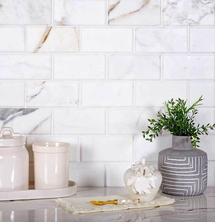 Beveled Marble Subway Tiles in Calacatta Gold