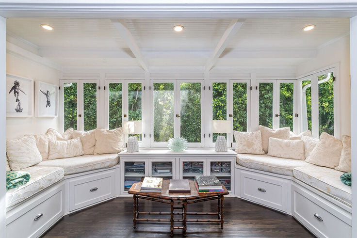 Davis Taylor Design - Custom Cabinetry for Built In Window Seats in a Light and Airy Reading Room