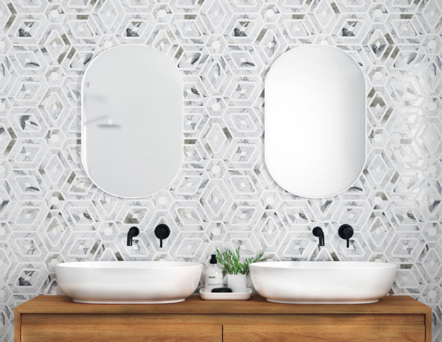 Modern Bathroom Vanity with a Diamond and Hexagon Marble Tile Pattern and Wood Counters