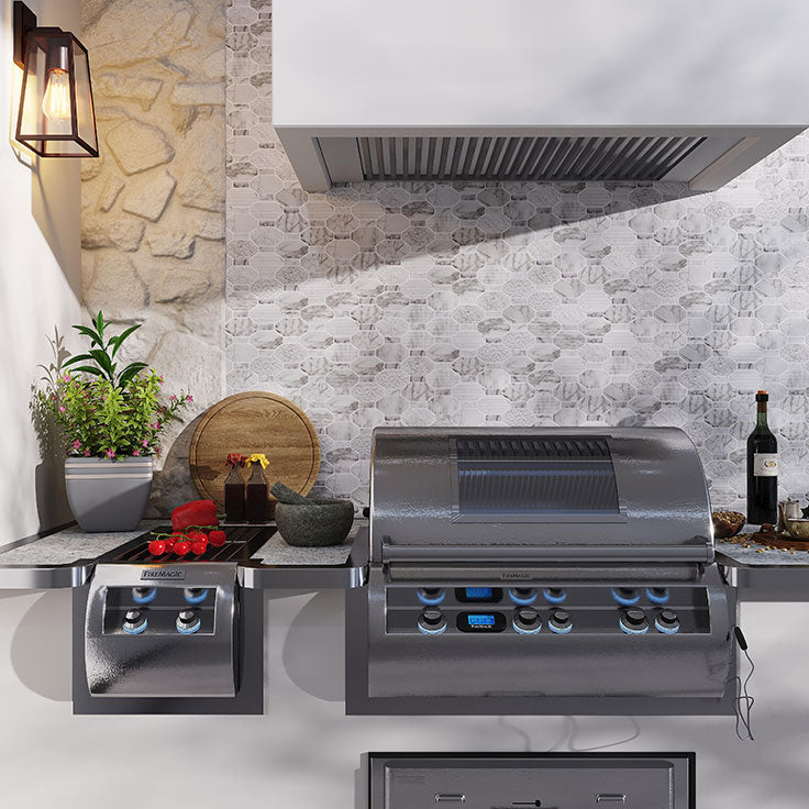 Grill in Style with this Outdoor Kitchen with a BBQ Backsplash in Wood Look Exterior Tile