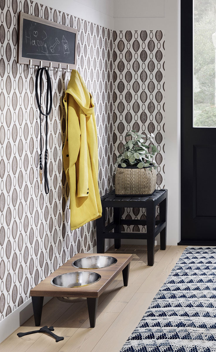Retro Farmhouse Mudroom with Mid-Century Modern Inspired Tile Wall Pattern