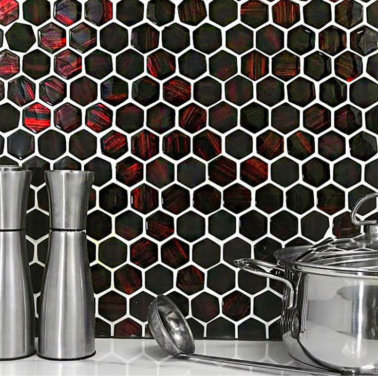 Bold Red Kitchen Tile in Glass Hexagon Pattern
