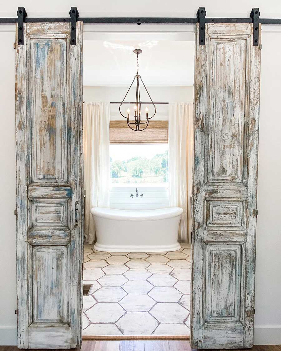 Antique Doors and Hexagon Floor Tiles for a Cottage Bathroom with Vintage Farmhouse Style