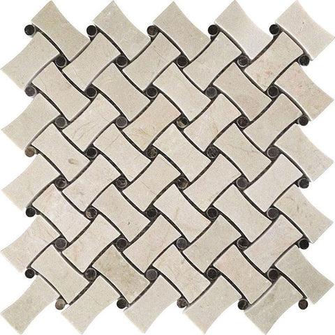 Crema Marfil Curved Basket Weave Marble Mosaic Tile
