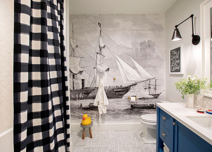 Jillian Harris combined Cottage Chic with Nautical Details for her Kids Bathroom