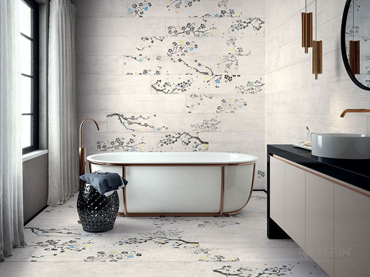 Our favorite bathrooms are beautiful and functional - like this cherry blossom Japanese-inspired bathroom with heated porcelain floor tiles