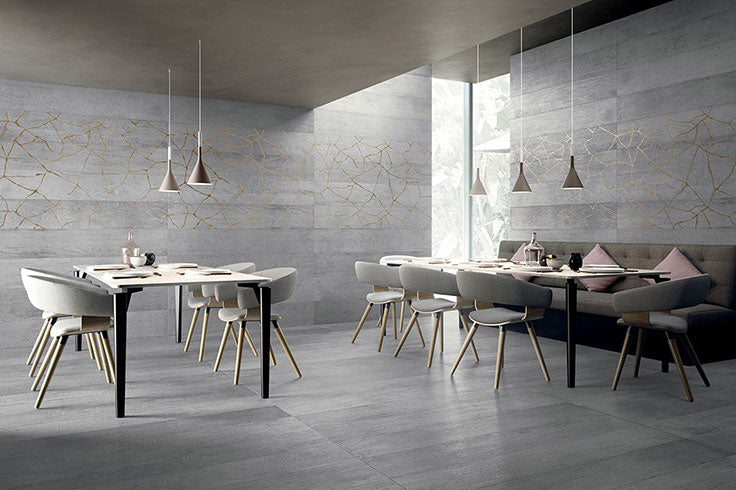With a modern take on traditional Japanese art, this Kasai Fumo Kintsugi Rectified Porcelain Tile is an excellent way to incorporate contemporary style into durable materials designed for high traffic residential or commercial settings.