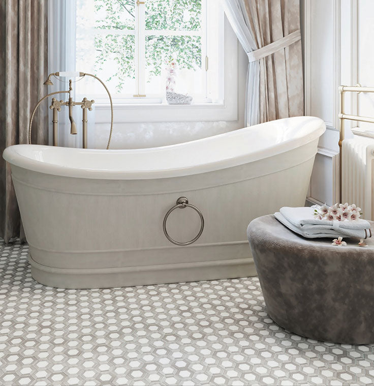 Vintage Farmhouse Bathroom with a Slipper Tub and Marble Hexagon Floor with Wood Grain Details