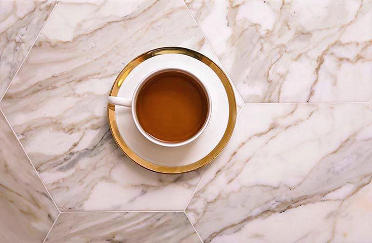2021 Kitchen Tile Floor Trends: Calacatta Gold Marble isn't Just for Counters