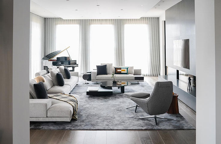 Orange County Dupuis Design Group - Modern City Penthouse Living Room in White and Gray